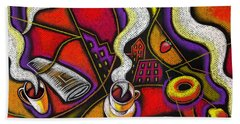 Bath Towel featuring the painting Morning Coffee Cup And Muffin  by Leon Zernitsky