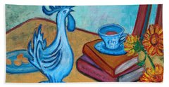 Bath Towel featuring the painting Morning Coffee Rooster by Xueling Zou