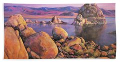 Morning Colors At Lake Pyramid Hand Towel by Donna Tucker