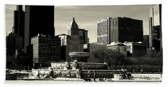 Morning Dog Walk - City Of Chicago Hand Towel