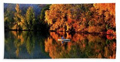 Morning Fishing On Lake Winona Hand Towel