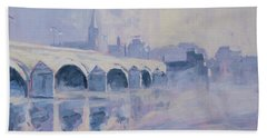 Morning Fog Around The Old Bridge Hand Towel