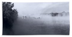 Hand Towel featuring the photograph Morning Fog - Hudson River by John Schneider