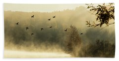 Morning Fog On Haley Pond In Rangeley Maine Bath Towel