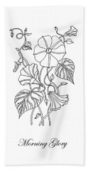 Morning Glory Botanical Drawing Hand Towel