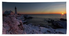 Morning Glow At Portland Headlight Bath Towel