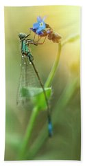 Morning Impression With Blue Dragonfly Bath Towel by Jaroslaw Blaminsky