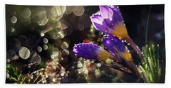 Hand Towel featuring the photograph Morning Impression With Violet Crocuses by Jaroslaw Blaminsky