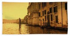 Morning In Venice Sepia Bath Towel