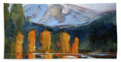 Bath Towel featuring the painting Morning Light Mountain Landscape Painting by Nancy Merkle