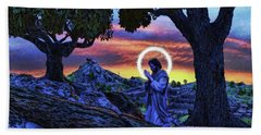 Hand Towel featuring the painting Morning Prayers by Dave Luebbert