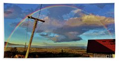 Morning Rainbow Over Kalaupapa Hand Towel by Craig Wood
