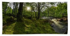 Morning River Sun Hand Towel by Ian Mitchell
