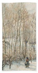 Morning Sunlight On The Snow Eragny Sur Epte Bath Towel