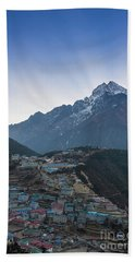 Hand Towel featuring the photograph Morning Sunrays Namche by Mike Reid