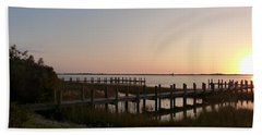 Morning Sunrise Over Assateaque Island Hand Towel by Donald C Morgan