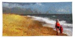 Morning Walk Along The Beach Hand Towel