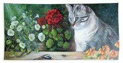 Bath Towel featuring the painting Morningsurprise by Patricia Schneider Mitchell