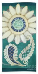Hand Towel featuring the painting Moroccan Paisley Peacock Blue 2 by Audrey Jeanne Roberts