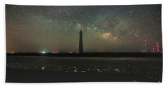Morris Island Light House Milky Way Bath Towel by Robert Loe
