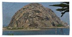 Morro Rock California Painting Bath Towel