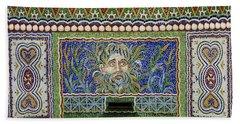 Mosaic Fountain At Getty Villa 3 Bath Towel