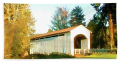 Bath Towel featuring the photograph Mosby Creek Covered Bridge by Wendy McKennon