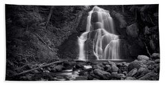 Moss Glen Falls - Monochrome Bath Towel by Stephen Stookey
