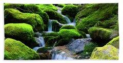 Moss Rocks And River Bath Towel