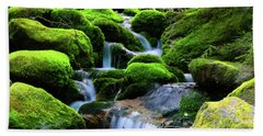 Moss Rocks And River Bath Towel