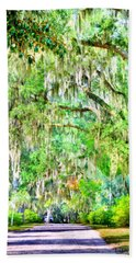 Bath Towel featuring the photograph Mossy Oak Pathway H D R by Lisa Wooten
