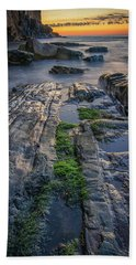 Mossy Rocks At Bald Head Cliff  Hand Towel
