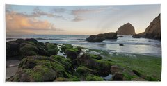Mossy Rocks At The Beach Hand Towel
