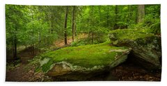 Hand Towel featuring the photograph Mossy Rocks In Little Creek Park by Shane Holsclaw