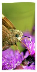 Hand Towel featuring the photograph Moth On Purple Flower by Meta Gatschenberger
