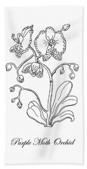 Moth Orchid Botanical Drawing Black And White Hand Towel
