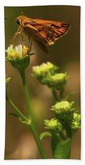 Moth Sitting On Yellow Flower Hand Towel