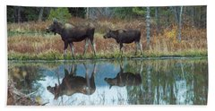 Mother And Baby Moose Reflection Bath Towel by Rebecca Margraf