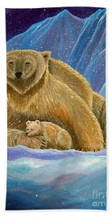 Mother And Baby Polar Bears Hand Towel