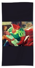 Bath Towel featuring the painting Mother And Child In Red2 by Kathy Braud