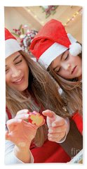 Mother And Daughter Doing Christmas Sweets Hand Towel