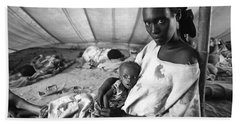 Mother And Her Starving Child In A Tuberculosis Tent, African Di Bath Towel