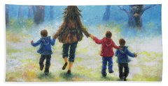 Mother And Three Sons  Hand Towel