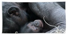 Mother Bonobo And Her Baby Bath Towel by Laurel Talabere