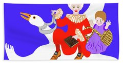 Mother Goose On Her Flying Goose Bath Towel by Marian Cates