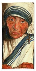 Hand Towel featuring the painting Mother Teresa  by Carole Spandau