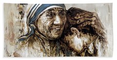 Hand Towel featuring the painting Mother Teresa  by Gull G