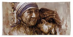 Bath Towel featuring the painting Mother Teresa Of Calcutta  by Gull G