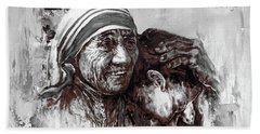 Bath Towel featuring the painting Mother Teresa Of Calcutta Portrait  by Gull G