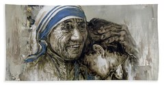 Hand Towel featuring the painting Mother Teresa Portrait  by Gull G